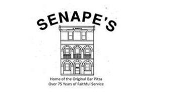 SENAPE'S HOME OF THE ORIGINAL BAR PITZA. OVER 75 YEARS OF FAITHFUL SERVICE
