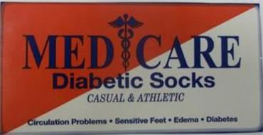 MED CARE DIABETIC SOCKS CASUAL & ATHLETIC CIRCULATION PROBLEMS · SENSITIVE FEET · EDEMA · DIABETES
