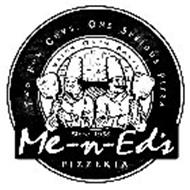 ME-N-ED'S PIZZERIA TWO FUN GUYS. ONE SERIOUS PIZZA BRICK OVEN BAKED SINCE 1958