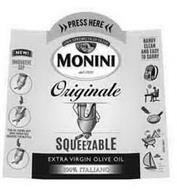 PRESS HERE UNA SPREMUTA DI OLIVE MONINIDAL 1920 ORIGINALE SQUEEZABLE EXTRA VIRGIN OLIVE OIL 100% ITALIANO
