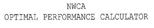 NWCA OPTIMAL PERFORMANCE CALCULATOR