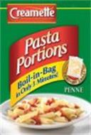 CREAMETTE HOMETOWN FAVORITE SINCE 1912 PASTA PORTIONS BOIL-IN-BAG IN ONLY 3 MINUTES! CONTAINS 3 BAGS PENNE