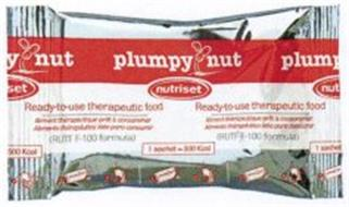 PLUMPY NUT NUTRISET READY-TO-USE THERAPEUTIC FOOD RUTF F-100 FORMULA 1 SACHET= 500 KCAL ALIMENT THERAPEUTIQUE PRET A CONSOMMER ALIMENTO THERAPEUTICO LISTO PARA CONSUMIR