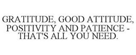 GRATITUDE, GOOD ATTITUDE, POSITIVITY AND PATIENCE - THAT'S ALL YOU NEED.