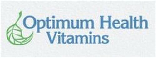 """OPTIMUM HEALTH VITAMINS"" AND LEAF DESIGN"