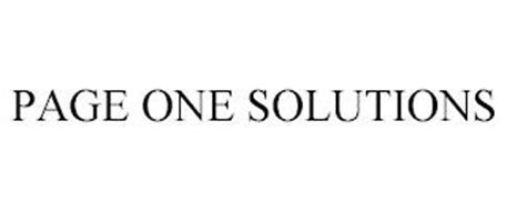 PAGE ONE SOLUTIONS