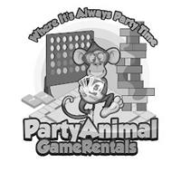 WHERE ITS ALWAYS PARTY TIME PARTY ANIMAL GAME RENTALS