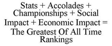 STATS + ACCOLADES + CHAMPIONSHIPS + SOCIAL IMPACT + ECONOMIC IMPACT = THE GREATEST OF ALL TIME RANKINGS