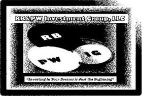 "RB&PW INVESTMENT GROUP, LLC RB PW IG ""INVESTING IN YOUR DREAMS IS JUST THE BEGINNING"""