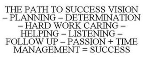 THE PATH TO SUCCESS VISION - PLANNING -DETERMINATION - HARD WORK CARING - HELPING - LISTENING - FOLLOW UP - PASSION + TIME MANAGEMENT = SUCCESS