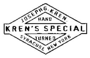 KREN'S SPECIAL HAND TURNED JOSEPH G. KREN. SYRACUSE NEW YORK