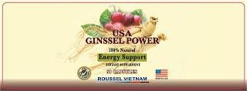 USA GINSSEL POWER 100% NATURAL ENERGY SUPPORT DIETARY SUPPLEMENT · USA · FOOD STANDARDS 60 CAPSULES ROUSSEL VIETNAM MADE IN U.S.A.