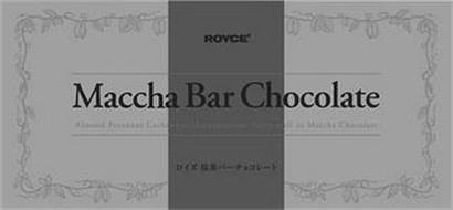 ROYCE' MACCHA BAR CHOCOLATE ALMOND PECANNUT CASHEWNUT MACADAMIA NUTTY PUFF IN MACCHA CHOCOLATE