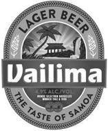 VAILIMA LAGER BEER THE TASTE OF SAMOA 4.9% ALC./VOL MONDE SECTION BRUXELLES WINNER 1982 & 1998