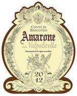 CONTE DI BREGONZO AMARONE DELLA VALPOLICELLA DENOMINAZIONE DI ORIGINE CONTROLLATA 2012