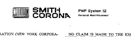 SMITH CORONA PWP SYSTEM 12 PERSONAL WORD PROCESSOR