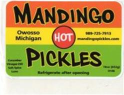 MANDINGO PICKLES OWOSSO MICHIGAN 989-725-7913 MANDINGOPICKLES.COM CUCUMBER VINEGAR-DILL SALT-SPICE LOVE REFRIGERATE AFTER OPENING 16OZ (452G) 0106