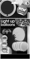 5 NEW NUEVO LIGHT UP BALLOONS LED LIGHTLUZ LED LASTS 15HRS DURA 15 HORAS EASY TO USE FACILES DE USAR TIRON / TIREZ PULL