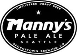 MANNY'S PALE ALE SEATTLE UNFILTERED DRAFT BEER GEORGETOWN BREWING CO.