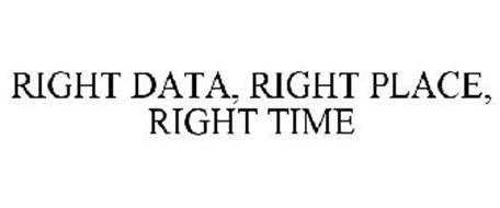 RIGHT DATA, RIGHT PLACE, RIGHT TIME