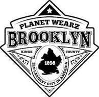 PLANET WEARZ BROOKLYN KINGS COUNTY 1898 3RD LARGEST CITY IN AMERICA
