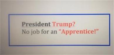 "PRESIDENT TRUMP? NO JOB FOR AN ""APPRENTICE!"""