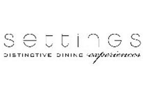 S E T T I N G S DISTINCTIVE DINING EXPERIENCES