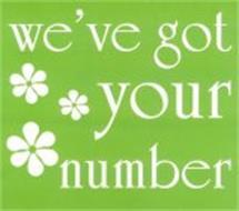 WE'VE GOT YOUR NUMBER