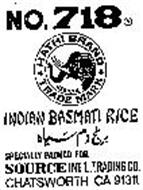 NO. 718 HATHI BRAND INDIAN BASMATI RICE SPECIALLY PACKED FOR SOURCE INT'L. TRADING CO. CHATSWORTH CA 91311