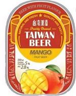 BEER WITH FRUIT FLAVOUR; NATURAL AND FRESH; QUALITY AND TASTY; FRESHLY BREWED; TAIWAN BEER MANGO FRUIT BEER; 330 ML CONTAIN FRUIT JUICE 5% ALC 2.8%