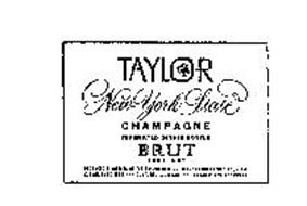 TAYLOR NEW YORK STATE CHAMPAGNE FERMENTED IN THIS BOTTLE BRUT VERY DRY PRODUCED & BOTTLED BY THE TAYLOR WINE CO. INC. HAMMONDSPORT, N.Y. USA ESTABLISHED 1880...CONTENTS 4/5 QUART...ALCOHOL 12% BY VOLUME
