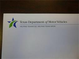 TEXAS DEPARTMENT OF MOTOR VEHICLES HELPING TEXANS GO. HELPING TEXAS GROW.