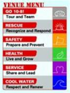 VENUE MENU, GO 10-8!, TOUR AND TEAM, RESCUE, RECOGNIZE AND RESPOND, HEALTH, LIVE AND GROW, SERVICE, SHARE AND LEAD, COOL WATER, RESPECT AND RENEW.