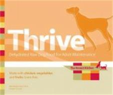THRIVE DEHYDRATED RAW DOG FOOD FOR ADULT MAINTENANCE THE HONEST KITCHEN MADE WITH CHICKEN, VEGETABLES AND FRUITS. GRAIN-FREE. NET WEIGHT 4LBS/1.81 K PRODUCT OF USA