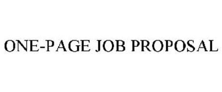 ONE-PAGE JOB PROPOSAL