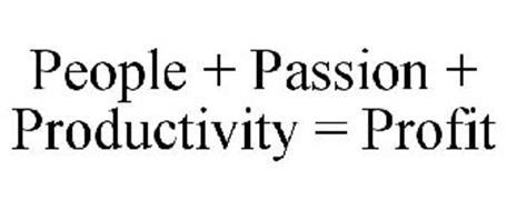PEOPLE + PASSION + PRODUCTIVITY = PROFIT
