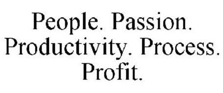 PEOPLE. PASSION. PRODUCTIVITY. PROCESS. PROFIT.