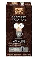WIDE AWAKE COFFEE CO. ESPRESSO CAPSULES INTENSITY 10 RISTRETTO WIDE AWAKE COFFEE CO. ESPRESSO CAPSULES INTENSITY 10 RISTRETTO A BLEND OF ARABICA & ROBUSTA COFFEE BOLD ROAST, SMOKY AROMA & NUTTY FLAVOR