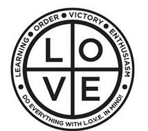 LOVE · LEARNING · ORDER · VICTORY · ENTHUSIASM · DO EVERYTHING WITH L.O.V.E. IN MIND