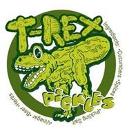 T-REX PICKLES INGREDIENTS: · CUCUMBERS · SPICES · PICKLING SALT ·VINEGAR · BEER · HERBS
