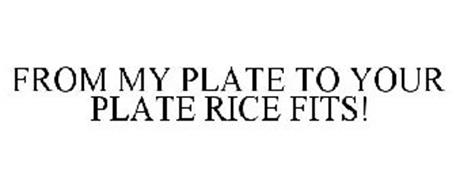 FROM MY PLATE TO YOUR PLATE RICE FITS!