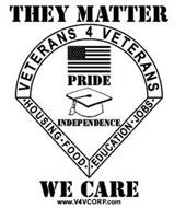 THEY MATTER VETERANS 4 VETERANS ·HOUSING·FOOD· ·EDUCATION·JOBS· PRIDE INDEPENDENCE WE CARE WWW.V4VCORP.COM