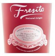 FRESITA NATURAL ORIGIN CHILEAN SPARKLING WINE THE ORIGINAL BLEND OF CHILEAN SPARKLING WINE AND HANDPICKED STRAWBERRIES INFUSED WITH FRESH HANDPICKED STRAWBERRIES