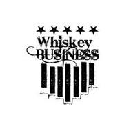 FIVE STARS, WORDS WHISKEY BUSINESS, WITH 7 VERTICAL RECTANGLES