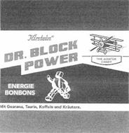 KIRSTEIN IS DR. BLOCK POWER ENERGIE BONBONS THE AVIATOR CANDY MIT GUARANA, TAURIN, KOFFEIN UND KRÄUTERN.