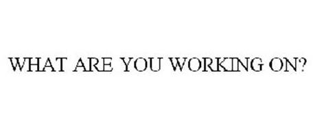 WHAT ARE YOU WORKING ON?
