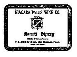 HERMIT SHERRY NIAGARA FALLS WINE CO. T.G. BRIGHT & CO. LTD NIAGARA FALLS ESTABLISHED 1874 BOTTLED BY THE PROPRIETORS