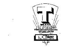 T BRAND POTATOES NORTHERN NORTH DAKOTA DRYLAND GROWN PACKED BY L. E. TIBERT VOSS, NORTH DAKOTA