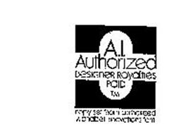 A.I.  AUTHORIZED DESIGNER ROYALTIES PAID TM COPY SET FROM AUTHORIZED ALPHABET INNOVATIONS FOUNT