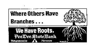 WHERE OTHERS HAVE BRANCHES... WE HAVE ROOTS. PEE DEE STATE BANK TIMMONSVILLE FLORENCE MEMBER FDIC